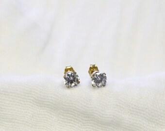 CZ Gold Stud Earrings