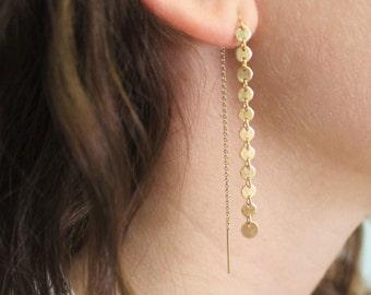 Gold Coin Threader Earrings, Silver Drop Earrings, Gold Earrings, Silver Earrings, Drop Earrings, Dangling Earrings, Minimal Jewelry