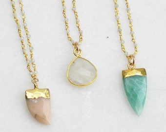 Long Necklace Long Pendant Necklace Bridesmaids Gift/ Custom Long Layering Necklace Gemstone Necklace Gold Necklace Long Stone Necklace