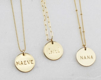 Large Personalized Disc Necklace - Choose your chain