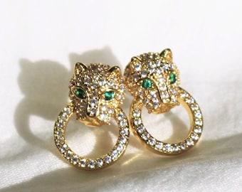 Gold Leopard Pave Earrings