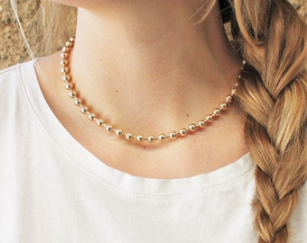 6mm Beaded Necklace in Silver or Gold