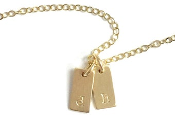 Tiny Gold Rectangle Initial Necklace