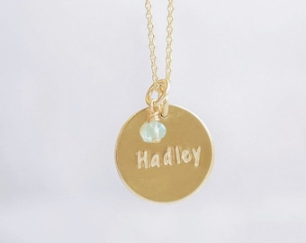 Large Personalized Disc Necklace with Birthstone Charms
