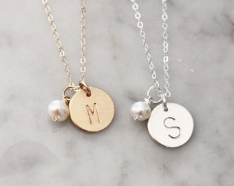 Medium Initial Charm Necklace with Freshwater Pearl