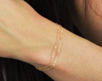 Double Chain Bracelet - In Rose, Silver & Gold