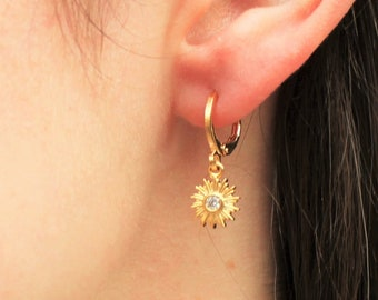 Sun Drop Gold Hoop Earrings