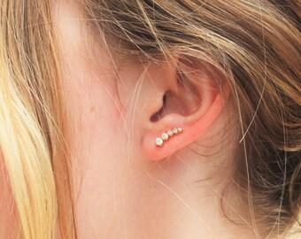 CZ Gold Ear Climber Earrings