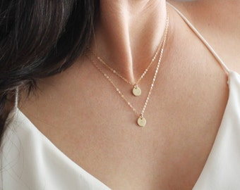 Tiny Initial Layered Necklace Set