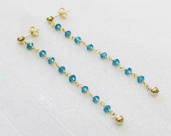 Long Dangle Rosary Earrings - Choose your gem