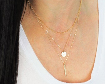 Satellite, Petite Disc and Bar Layered Necklace Set