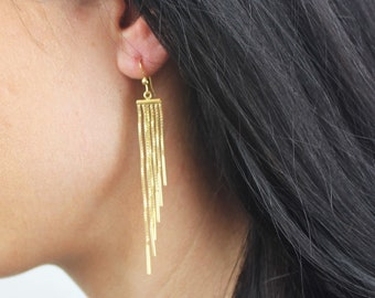 Kate - Long Earrings with Fringe silver or gold