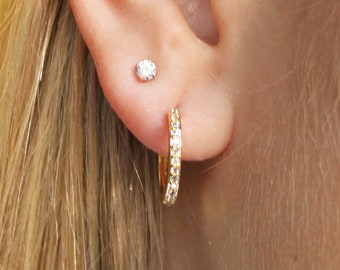 Set of 2 Earrings - CZ Studs and CZ Hoops