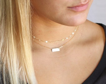 Mini Bar Necklace in Silver, Rose or Gold