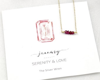 Gifts Women, January Birthday, Birthday Gifts, January Birthstone, The Silver Wren, Jewelry, Birthstone Necklace, Gift for Her, Garnet