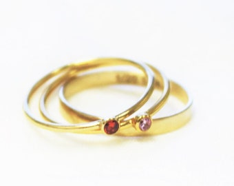 Set of 3 Rings - Two Ting Birthstone Rings & a Plain Band