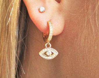 Evil Eye CZ Huggie Hoop Earrings