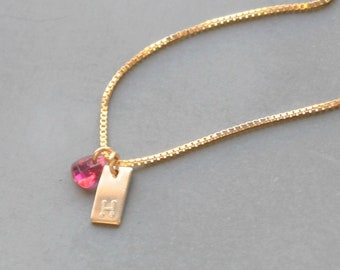 Mini Rectangle Charm Necklace with Birthstone