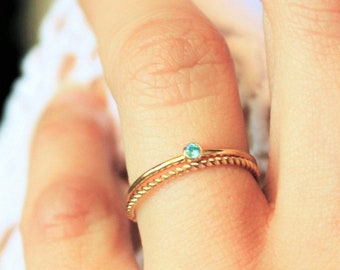 Set of 2 Rings - Gold Tiny Birthstone Ring & Twisted Band Ring
