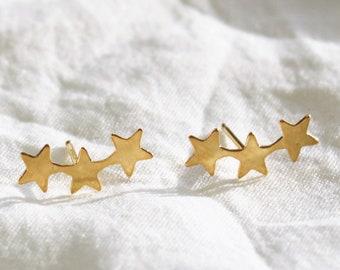Silver or Gold Triple Star Stud Earrings