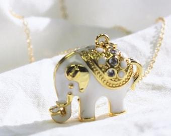 Gold & White Elephant Pendant Necklace