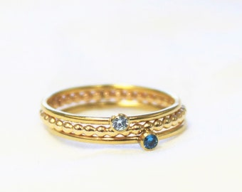 Set of 3 Rings - Two Ting Birthstone Rings & a Beaded Band