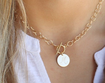 Toggle & Custom Initial Disc Necklace - 16mm