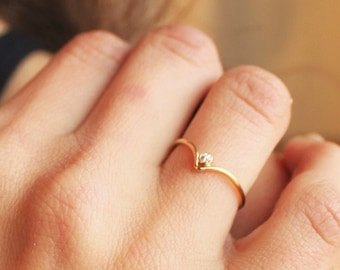 Thin Chevron Band Ring, 14kt Gold Filled