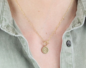 Medium Initial Disc Necklace with Toggle