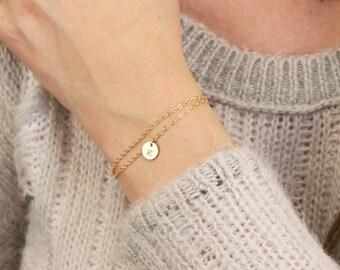 Double Chain Initial Bracelet
