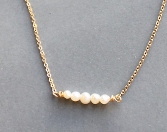 Genuine Pearl Beaded Bar Necklace