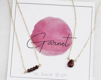 January Birthday - Garnet Necklace