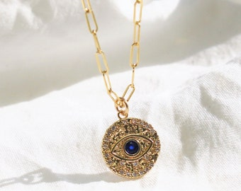 Blue Evil eye Charm Necklace on Drawn Chain
