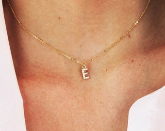 Tiny CZ Initial Necklace