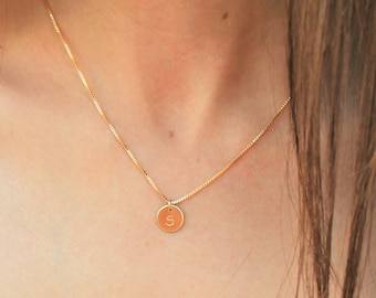 Petite Initial Charm Necklace in Silver or Gold on Box Chain - 2-4 initials