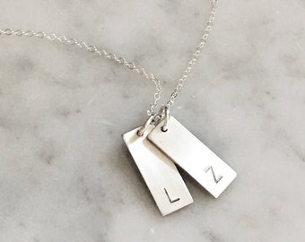 Rectangle Initial Necklace, 1,2,or 3 Charms