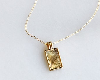 Sun Ray Rectangle Pendant Necklace