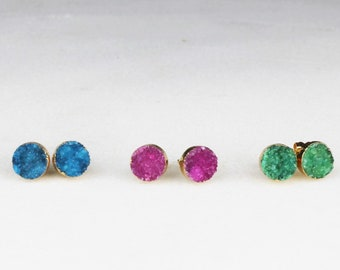 Bright Sparkling Druzy Stud Earrings