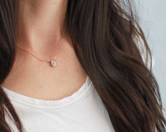 Ultra Dainty Moonstone Necklace, June Birthday Gift