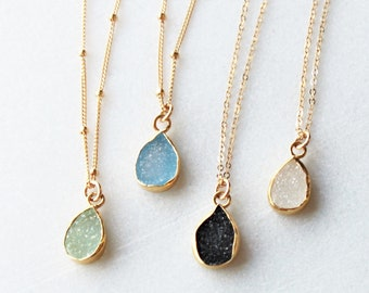 Tiny Druzy Necklace