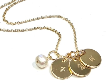 Initial Charm Necklace, Rose, Silver or Gold Necklace w/ Pearl Charm