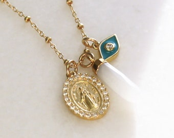 Multi-Pendant Necklace, Evil Eye, Medal & Moonstone Necklace
