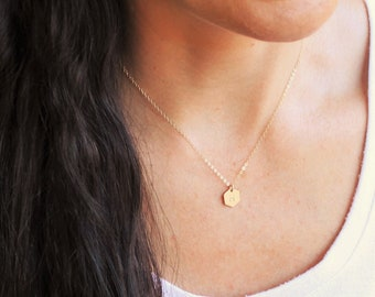 Dainty Hexagon Initial Necklace in Silver or Gold
