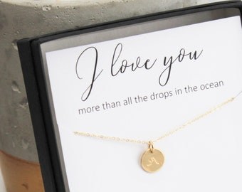 Gift for Women, Jewelry Gift, Gift for Her, Gift for Wife, Charm Necklace, Girlfriend Gift, Gift Jewelry, Wave Necklace, Dainty Jewelry