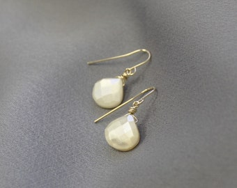 White Chalcedony Dangle Earrings