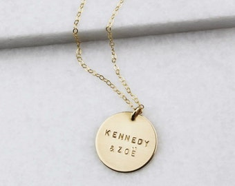 Custom Name Necklace, Large Disc Personalized Jewelry Mothers Necklace, Necklaces for Women, Gold Necklace, Personalized Jewelry