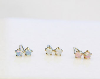 Tiny Opal Gold Earrings
