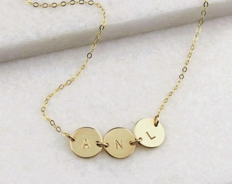 Petite Connected Disc Necklace - Up to 5 discs