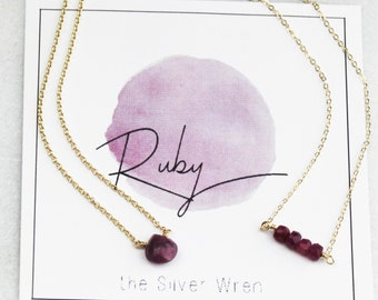 July Birthday Ruby Necklace