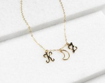 Letter 3 Charm Necklace